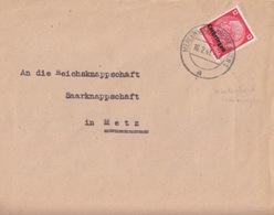 Lettre De Merlebach (T 325 Merlebach-Freimingen 1 A) TP Lothr 12pf=1°éch Le 16/2/41 Pour Metz - Postmark Collection (Covers)