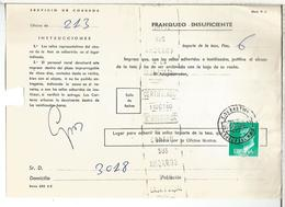 DOCUMENTO INTERNO CORREOS FRANQUEO INSUFICIENTE MAT SAN SEBASTIAN CARTERIA APERTURA GUIPUZCOA - 1931-Hoy: 2ª República - ... Juan Carlos I