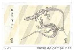 LITHUANIA -1 TALONAS Lizards / Cranberry Branch 1991 Pik-32A-UNC - Lituanie