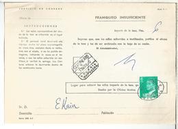 DOCUMENTO INTERNO CORREOS FRANQUEO INSUFICIENTE MAT USURBIL GUIPUZCOA - 1931-Hoy: 2ª República - ... Juan Carlos I