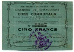 1914 - 1918 // Pas De Calais // Commune De RUMAUCOURT // Bon De Cinq Francs - Bons & Nécessité