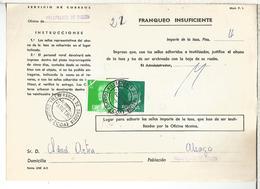 DOCUMENTO INTERNO CORREOS FRANQUEO INSUFICIENTE MAT VILLAFRANCA DE ORDIZIA GUIPUZCOA - 1931-Hoy: 2ª República - ... Juan Carlos I