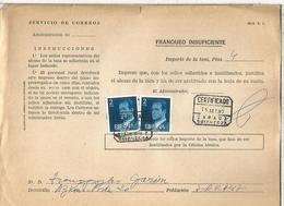 DOCUMENTO INTERNO CORREOS FRANQUEO INSUFICIENTE MAT ZARAUZ GUIPUZCOA - 1931-Hoy: 2ª República - ... Juan Carlos I