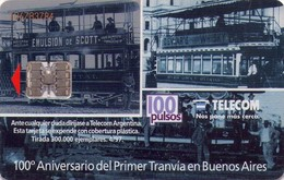 TARJETA TELEFONICA DE ARGENTINA. 100 ANIVERSARIO DEL PRIMER TRANVIA EN BUENOS AIRES, TLC-115, (049) - Trains