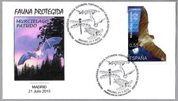 FAUNA PROTEGIDA: MURCIELAGO PATUDO - LONG-FINGERED BAT. SPD/FDC Madrid 2015 - Protección Del Medio Ambiente Y Del Clima