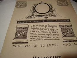 ANCIENNE PUBLICITE POUDRER DE RIZ  MALACEINE 1920 - Parfums & Beauté