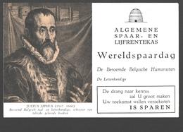 Vloeipapier / Buvard - Algemene Spaar- En Lijfrentekas (ASLK) Wereldspaardag - Justius Lipsius, Letterkundige - Banque & Assurance