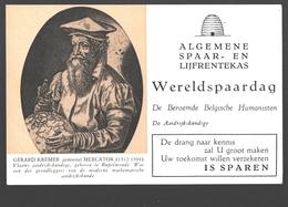 Vloeipapier / Buvard - Algemene Spaar- En Lijfrentekas (ASLK) Wereldspaardag - Gerard Kremer / Mercator, Aardrijkskundig - Bank & Insurance