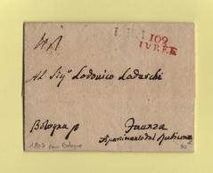 Ivree - 109 - 1807 - Destination Bologne - LR1 - Departement Conquis La Doire - 1792-1815: Conquered Departments