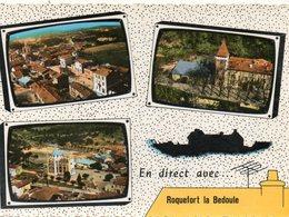CPSM Dentelée - ROQUEFORT-la-BEDOULE (13) - Carte De Multi-Vues Aériennes à L'antenne De Télé Des Année 60 - France