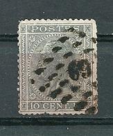 17 Gestempeld PT 69 BERCHEM-LEZ-ANVERS - COBA 10,00 - 1865-1866 Profilo Sinistro