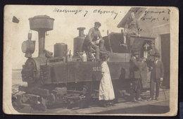 Serbia Yugoslavia Ohrid LOCOMOTIVE LES LOCOMOTIVES TRAIN RAILWAY OLD RPPC 1922 (see Sales Conditions) - Treni