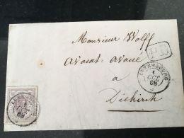 Luxembourg Lettre Avec No 17 Lux Diekirch - 1859-1880 Armoiries