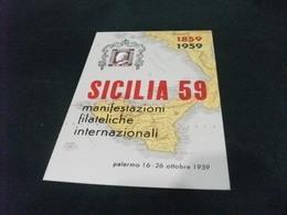 SICILIA 59 PALERMO 1959 FRANCOBOLLO RAPPRESENTAZIONE  CARTA GEOGRAFICA - Carte Geografiche