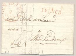 Nederland - 1835 - DEN HELDER + FRANCO Op Complete Vouwbrief Naar MONNIKENDAM - Nederland