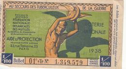 LOTERIE NATIONALE  AU SECOURS DES TUBERCULEUX  DE LA GUERRE 1938 - Billets De Loterie