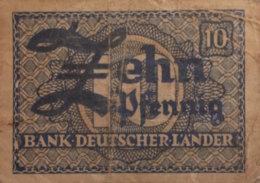 Germany West 10 Pfennig, WBZ-12a/Ro.251a (1948) - Very Good - [ 7] 1949-… : RFA - Rep. Fed. Tedesca