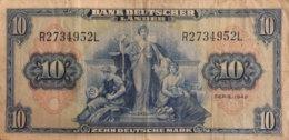 Germany West 10 Deutsche Mark, BRD-4/Ro.258 (Serie R/L) - Fine - [ 7] 1949-… : FRG - Fed. Rep. Of Germany