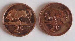 Coins South Africa 2 Coins 2 Cent 1974, 1967 - Afrique Du Sud