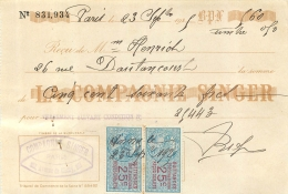 RECU  DE LA COMPAGNIE SINGER 09/1925 - France