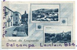 Alessandria - Saluti Da Grognardo, Multi Vues, 3 Vues,  Panorama, écrite, 1934, Joli Timbre, TTBE, Scans. - Alessandria