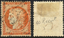 RARE ´4´ Retouché Sur 40c Siège TB (Y&T N° 38d, Case 147, +200€) - 1870 Siège De Paris