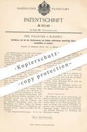 Original Patent - Emil Pollacsek , Budapest , 1896 , Schwefelsäure Bei Verbrennung Von Kohle Unschädlich Machen | Chemie - Historische Dokumente