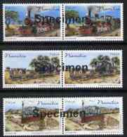 Namibia 2006 Railway Centenary Perf Set Of 3 In Pairs Overprinted SPECIMEN (opt Goes Across 2 Stamps) Mnh RAILWAYS TRAIN - Namibia (1990- ...)