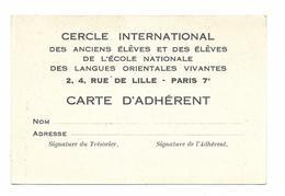 PARIS...CERCLE INTERNATIONAL DES LANGUES ORIENTALES VIVANTES...CARTE D ADHERENT - Diploma & School Reports