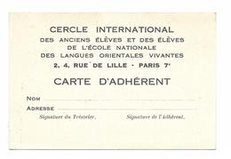 PARIS...CERCLE INTERNATIONAL DES LANGUES ORIENTALES VIVANTES...CARTE D ADHERENT - Diplomas Y Calificaciones Escolares
