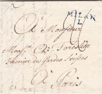 Locarno Per Milano, Lettera Con Contenuto Da Inoltrare A Parigi 1790 - Suisse
