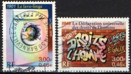 FRANCIA - 2000 - XX SECOLO - LA SOCIETA': LAVATRICE E DICHIARAZIONE UNIVERSALE DEI DIRITTI DELL'UOMO - USATI - Gebraucht