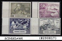 SIERRA LEONE - 1949 75th ANNIVERSARY OF UPU- 4V MINT NH SCOTT#190-3 - UPU (Universal Postal Union)