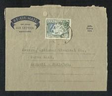 Zanzibar 1957 Air Mail Postal Used Aerogramme Cover With Stamps Zanzibar To Pakistan - Zanzibar (...-1963)