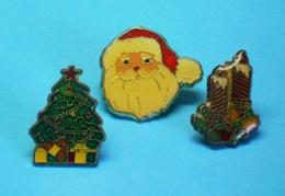 3 PIN'S //  ** JOYEUX NOËL / PÈRE NOËL ET SAPIN ** - Noël