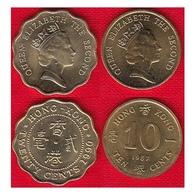 Hong Kong Set Of 2 Coins: 10 - 20 Cents 1987-1990 UNC - Hong Kong