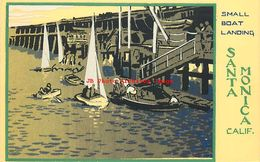 274651-Serigraph Postcard, M.A. Sheehan, Santa Monica California, Small Boat Landing - Illustrators & Photographers
