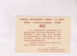 INVITATION A LA KERMESSE SYNDICAT FEMININ LA RUCHE A BEZIERS (annes 50) - Faire-part