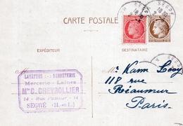 Entier Postal - CERES DE MAZELIN 2f50 + Complément 1f - De SEGRE (49) à PARIS (75) - 1942 - Postal Stamped Stationery