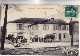 CPA - 10 - PARGUES (Aube) - RESTAURANT CAFE PICARDAT , DILIGENCES En 1910 - CARTE RARE - - France