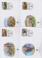 World Wide Fund For Nature 2002 Mozambique - Elephant ,Set 4 Official First Day Covers - FDC