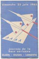 Programme Journée Base Aérienne Dijon Ouges Longvic 1963 Mirage III - Programmes
