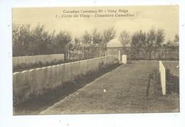 Two Post Cards - 2 Cartes Postales De La Crète De Vimy  Canadian Trenches - Cemetery  Tranchées Et Cimetière Canadien - France