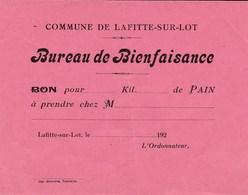 LAFITTE SUR LOT BUREAU DE BIENFAISANCE BON POUR DU PAIN VIERGE ANNEE 1920 - France