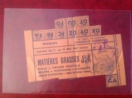 Ticket De Rationnement 1941 Mairie De Lapalud Margarine Saindoux - Gebührenstempel, Impoststempel