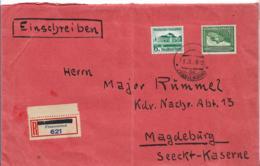 Sudetengau XX001 / Franzenbad 31.10.38, Aptierter Stempel + R-Zettelprovisorium. Ankunftsstempel Magdeburg 1.11. - Sudetes