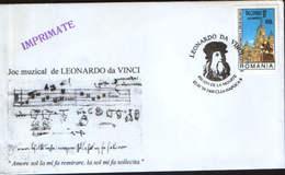 Romania - Envelope Occasionally 1999 - Leonardo Da Vinci,450 Years After His Death - Musical Play - Escritores