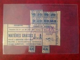 Ticket De Rationnement 1941 Mairie De Lapalud Gras De Bœuf Graisse Végétale - Gebührenstempel, Impoststempel