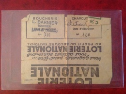 Ticket De Rationnement 1941 Mairie De Lapalud Boucherie Barnier - Gebührenstempel, Impoststempel