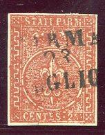 1855-PARMA- 25 C.BRUNO ROSSO - USATO -LUXE ! - Parma